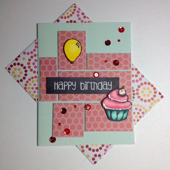 Handmade birthday greeting card cupcake and balloon scrapbook handmade birthday greeting card cupcake and balloon scrapbook paper bright colors man m4hsunfo
