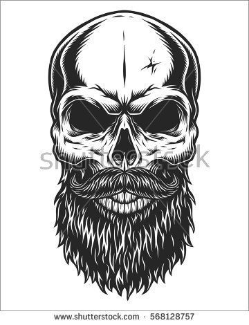 monochrome illustration of hipster skull with mustache and beard isolated on white background. Black Bedroom Furniture Sets. Home Design Ideas