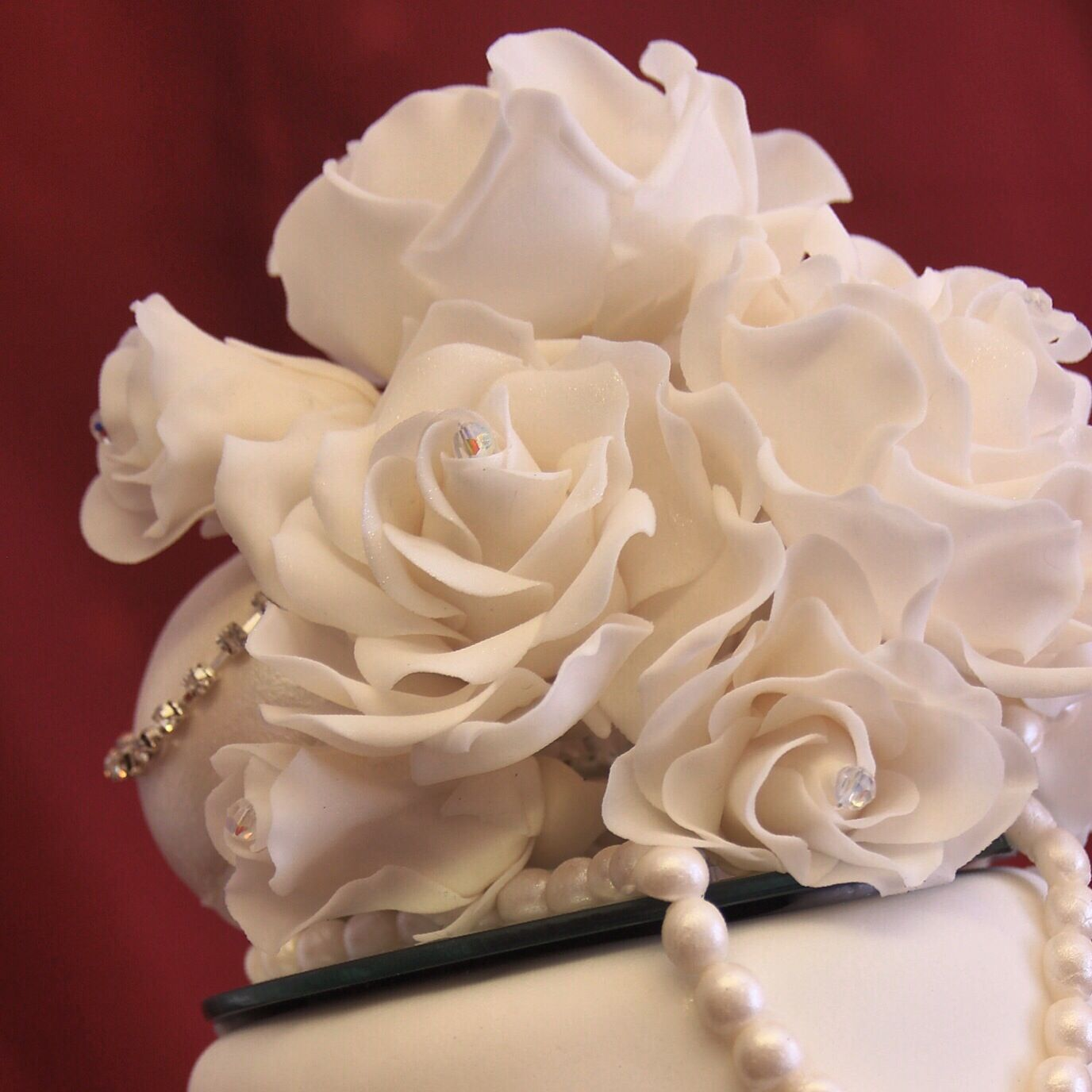 White Rose and Pearl Wedding Cake topper.