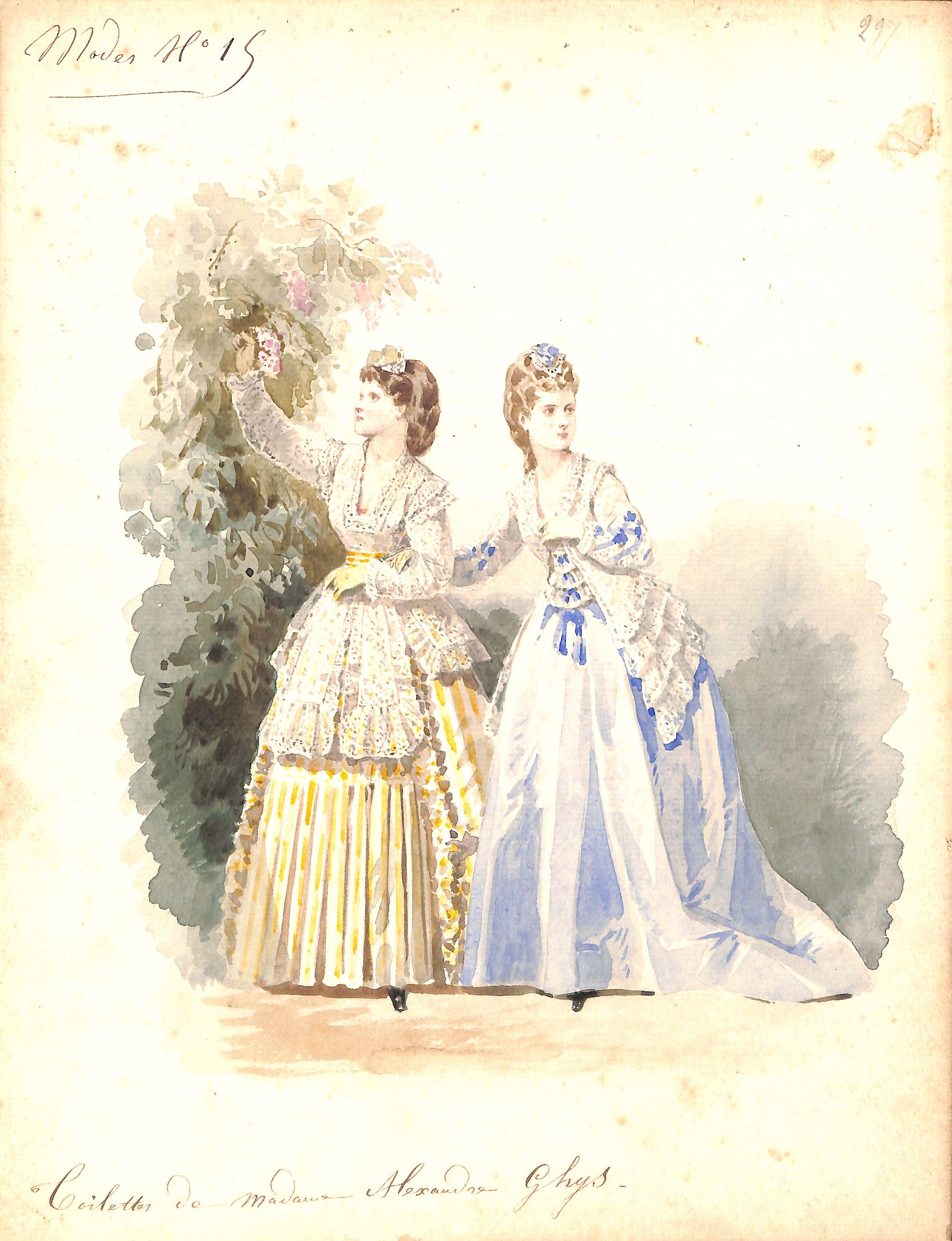 Toilettes de Madame Alexandre Ghys - Mode N°15 - couturière en activité de 1858 à 1878 - MAS Estampes Anciennes - Antique Prints since 1898