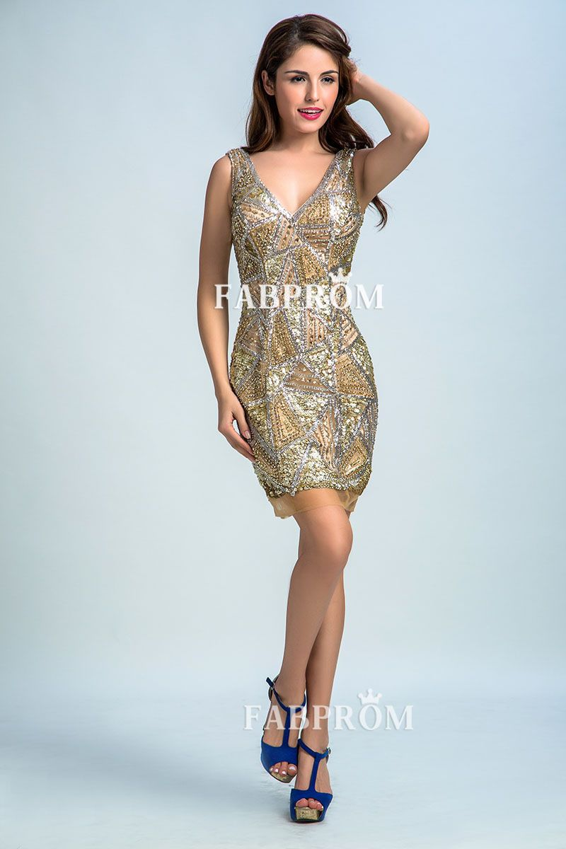 Gold and silver beaded metallic vneck short sheath cocktail prom