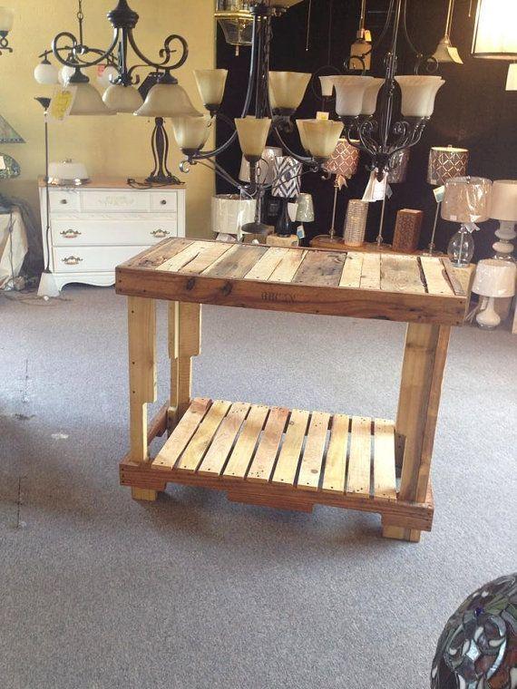 upcycled pallet high top table bar island with bottom shelf oiled rh pinterest com au