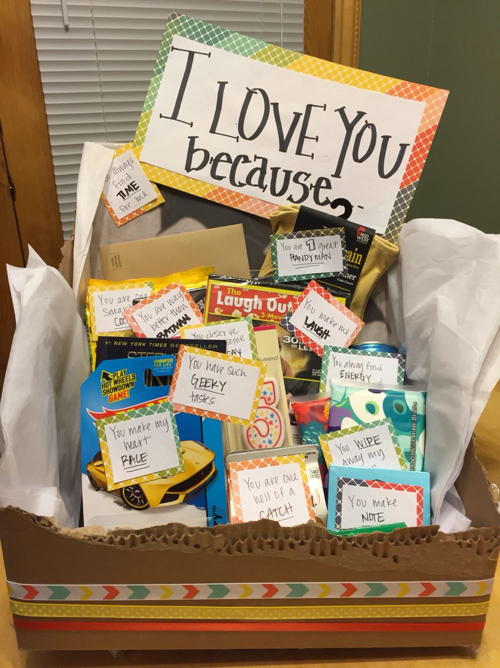 Isnt This A Cute Way To Say I Love You Made Unique Gift Box For My Husband On His Birthday Each Item Was Representation Of Reason Loved
