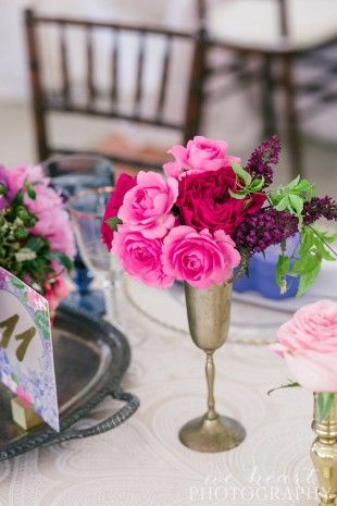 flowers in vintage goblets - Luxe Events
