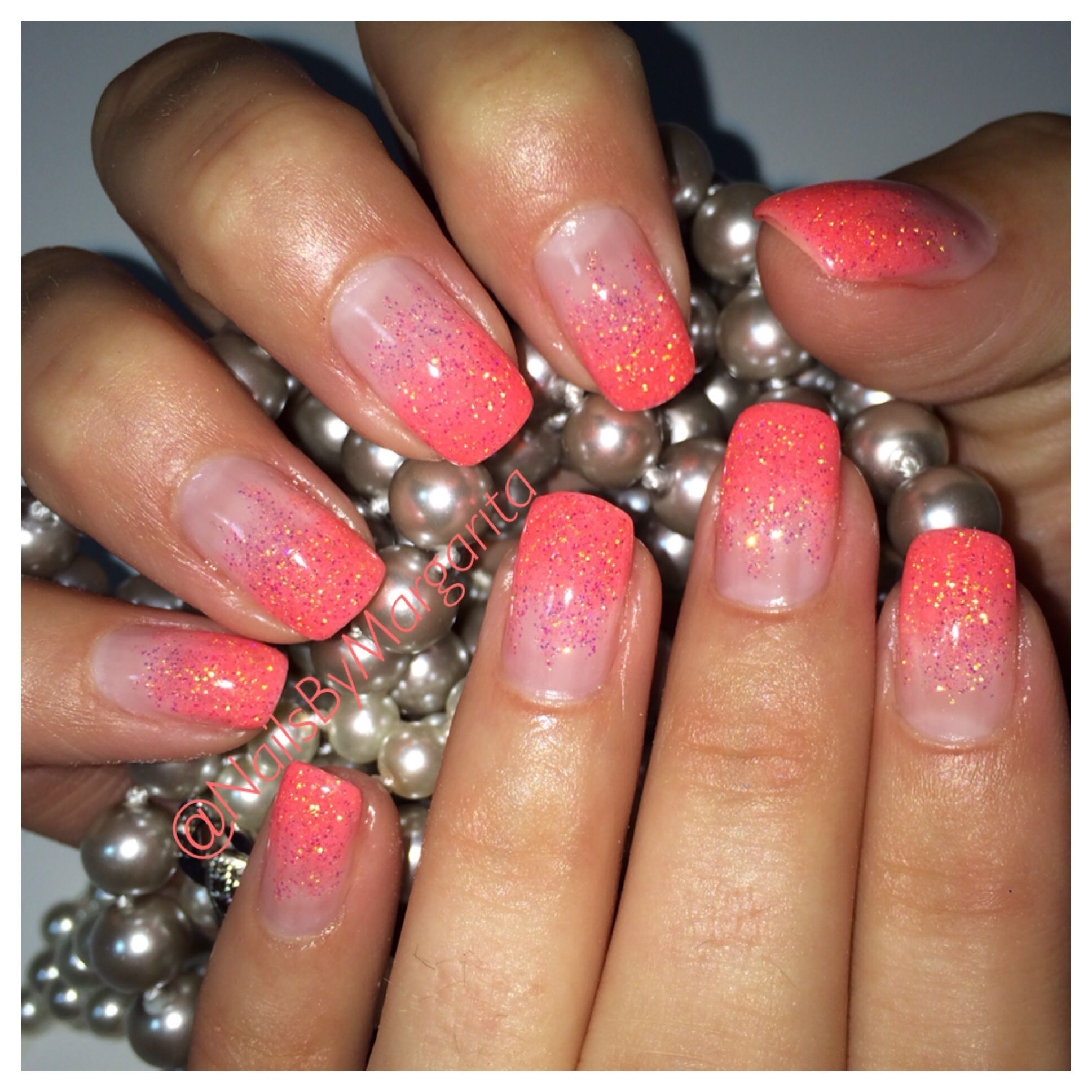 Coral Ombré Nails Glitter Gel Summer 2014 Nail Design #ByMargarita ...
