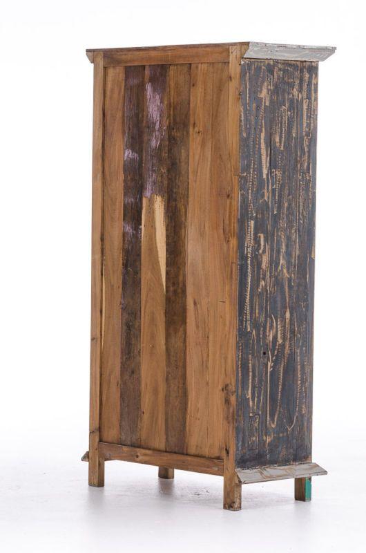 Teakholz Hochschrank Jakob Bunt Vintage Retro Landhaus Massiv Shabby Schrank Neu Teak Holz Teak Holz