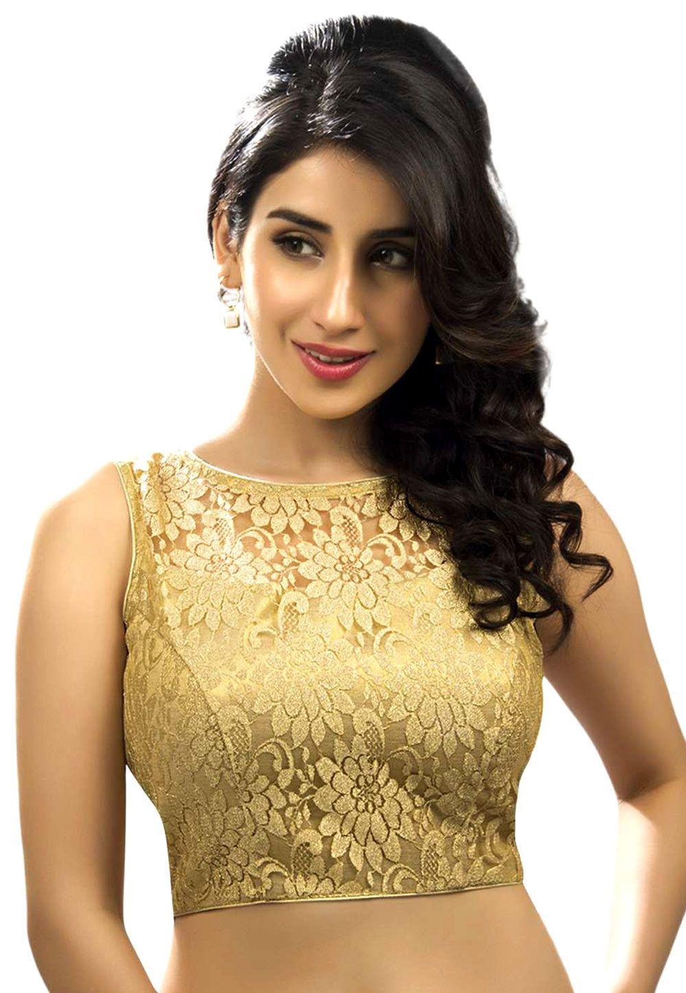 Readymade Saree Blouse,Designer Gold Brocad Padded Sari Blouse,Halter Neck Top