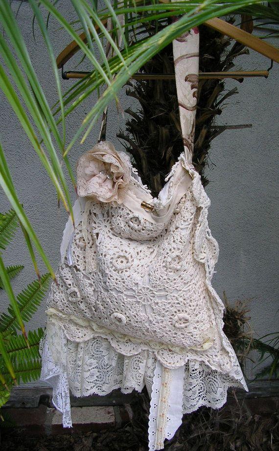 Cotton Crochet Purse, Shabby Chic tattered, vintage lace | Bolsos