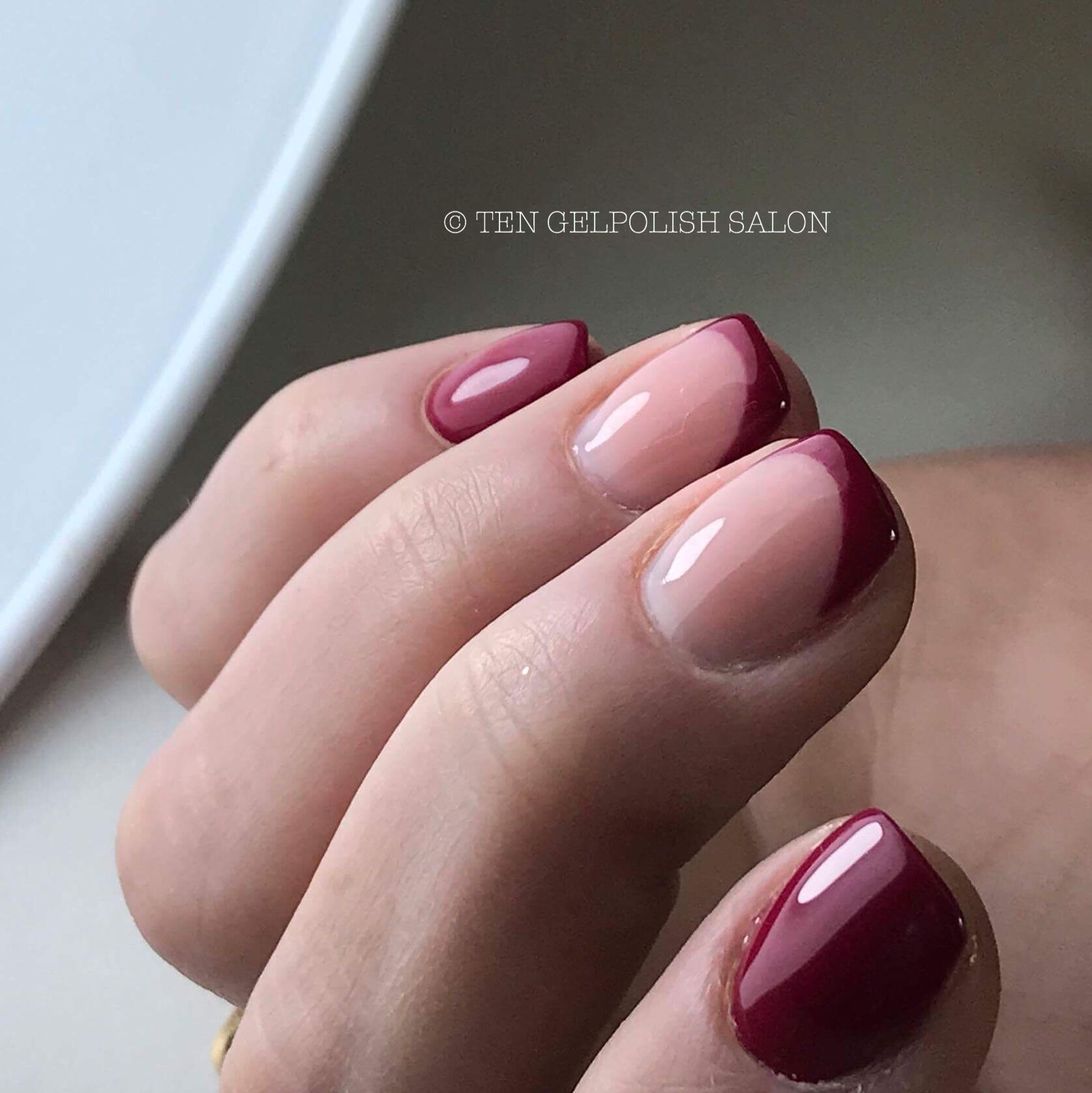 Gel overlay - bordeaux red - french manicure - short nails - squar ...