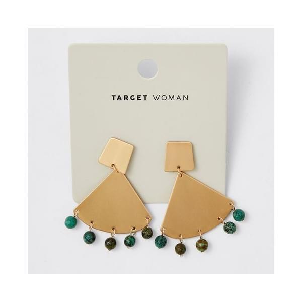 Target Tortoise Shell Metal and Bead Earrings
