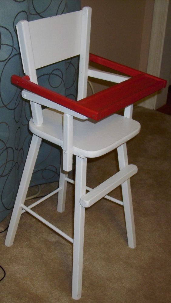 Vintage Wood Wooden Doll Baby High Chair Furniture w/Flip Tray 27