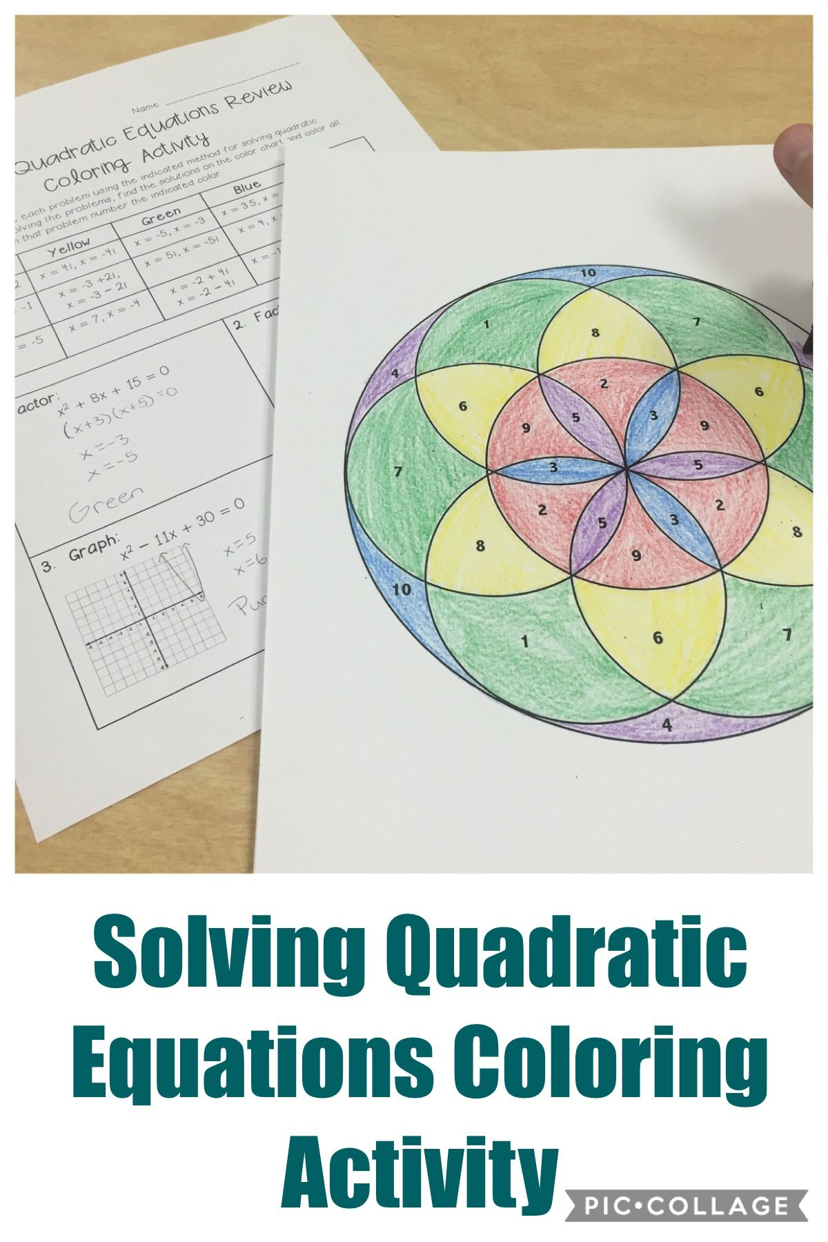 Solving Quadratic Equations Review Coloring Activity Secondary Math Resources Grades 6