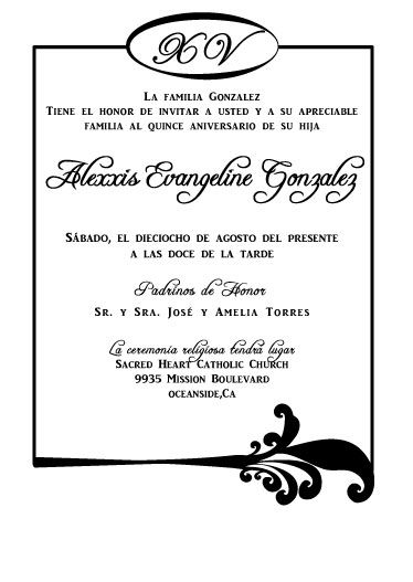 Spanish quinceaera invitations precious quince pinterest examples of wording for quinceanera invitations this layout works well for weddings too just change the wording a stopboris Images