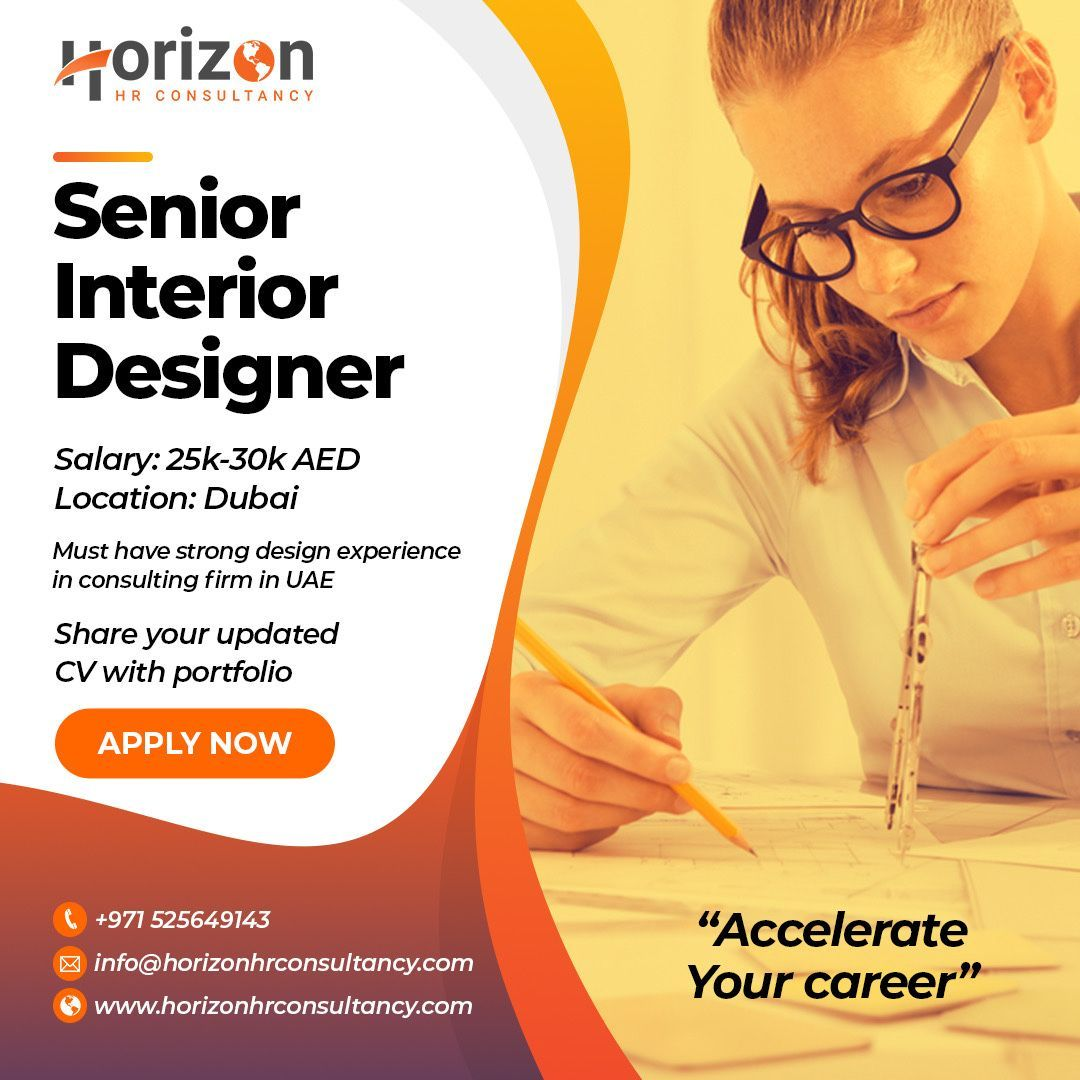 Looking For Senior Interior Designer Salary Aed 300 000 Pa Benefits Must Have Experience In Interio In 2020 Jobs For Freshers Consumer Insights Financial Modeling