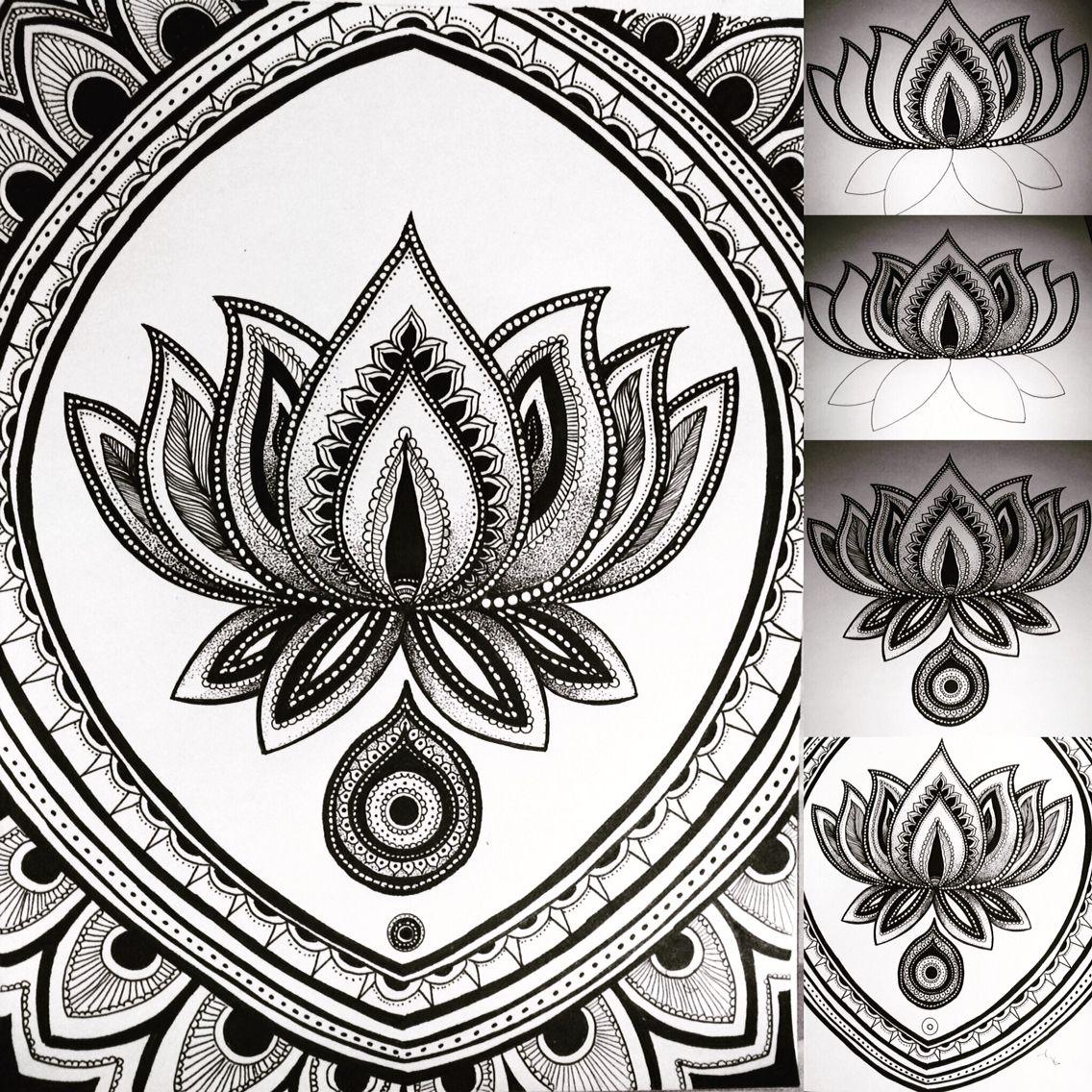 Proceso de la flor de loto en tinta mis trabajos pinterest