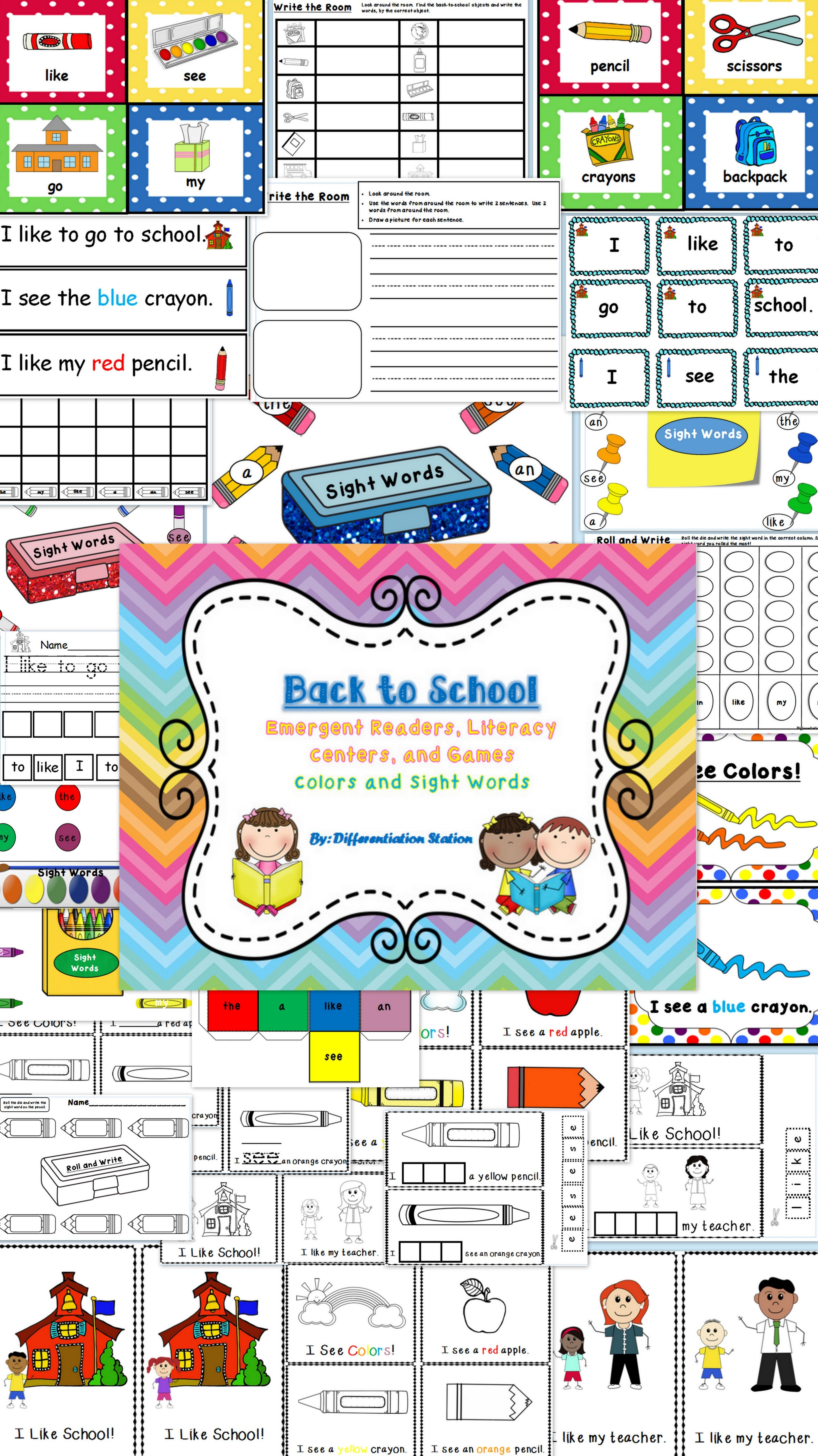 Back To School Emergent Readers Literacy Centers And Games
