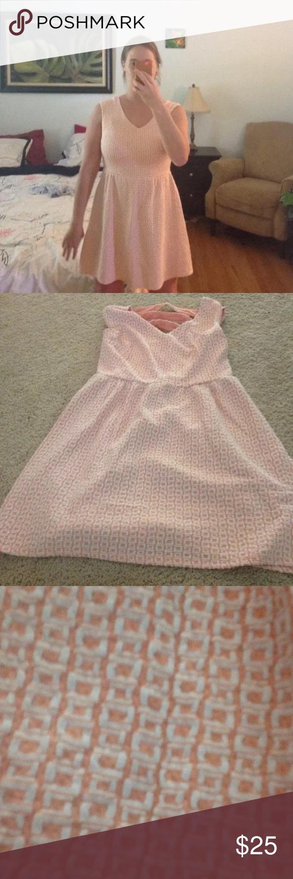1e2b60d0e439 Last call❗️Orange and white tropical dress Cute summer dress from target Xhilaration  Dresses Mini