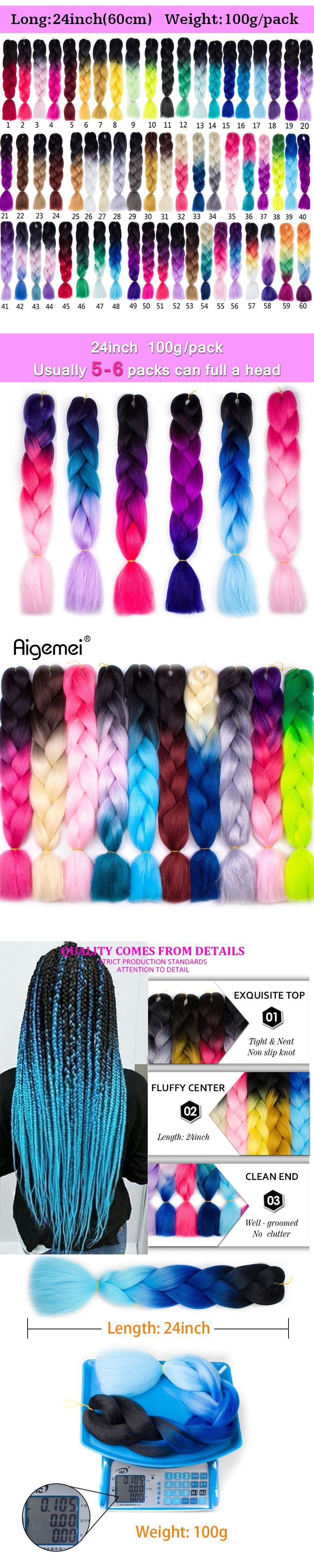 Aigemei Hair Synthetic Crochet Braids Hair Extensions Kanekalon Braiding Hair Extension 24inches Ombre Jumbo Braids 100g/pack