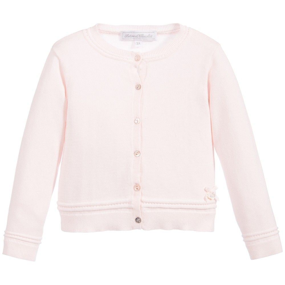 Baby Girls Pale Pink Cotton Knitted Cardigan, Tartine et Chocolat ...