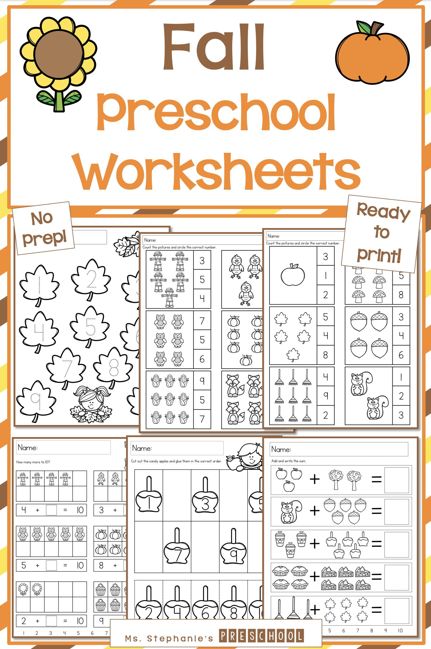 Fall Preschool Worksheets In