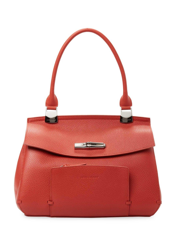 ec58773a0590 LONGCHAMP WOMEN S LEATHER SATCHEL - RED.  longchamp  bags  leather  hand  bags