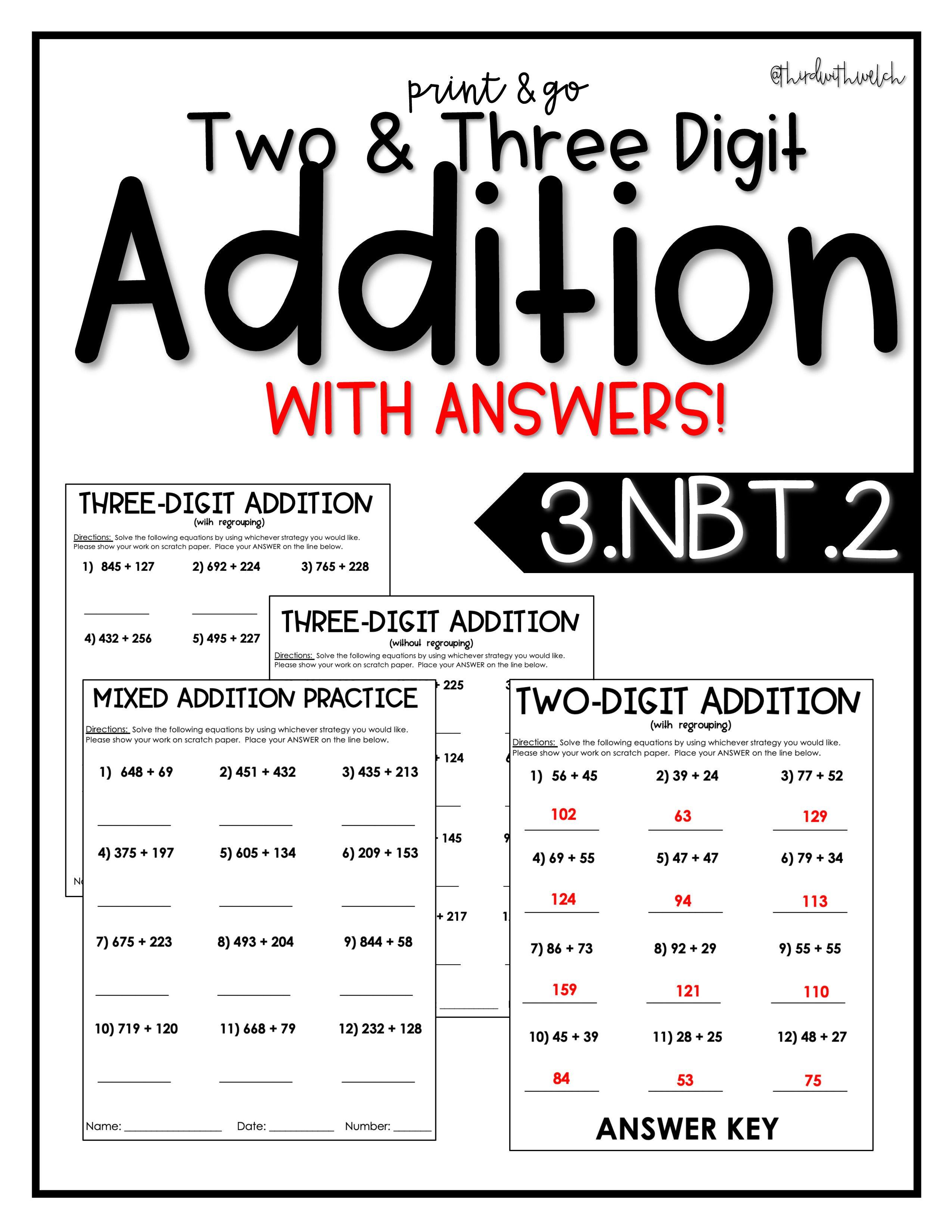 2 Amp 3 Digit Addition Practice