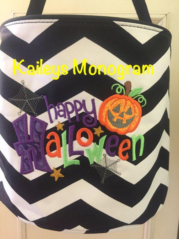 Personalized Halloween Trick Or Treat Canvas Bags Black Canvas Bag Monogram Halloween Bag Purple Canvas Bag