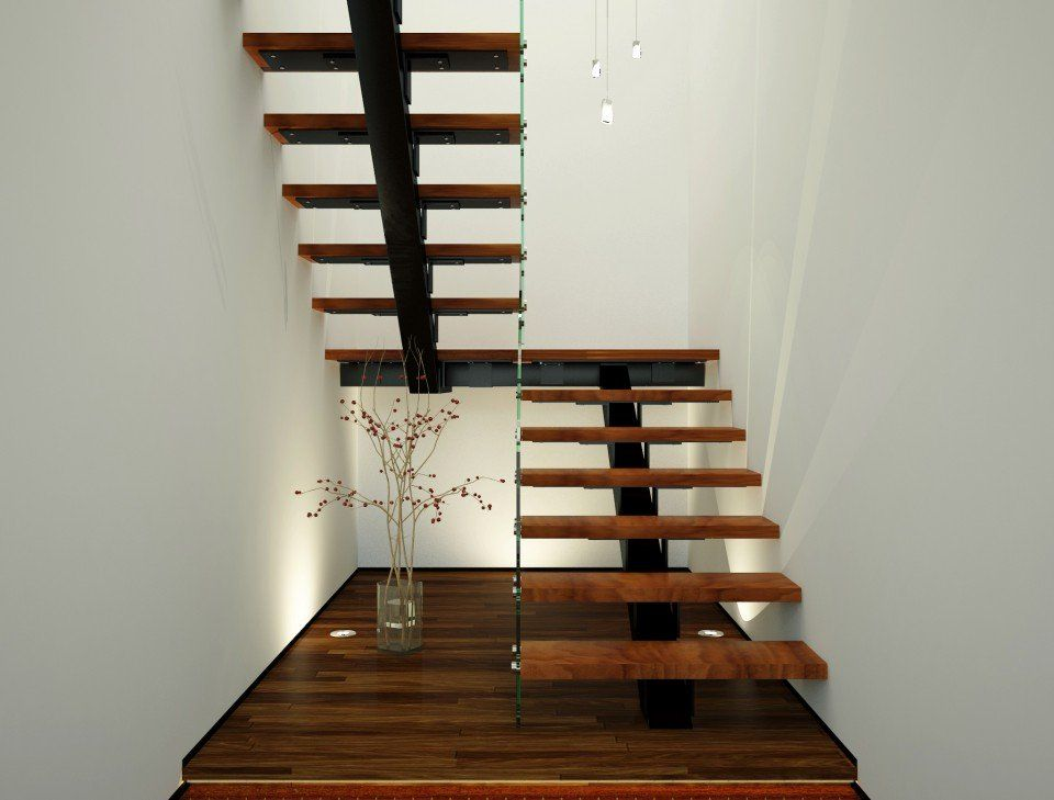 Xade Single Spine Half Landing Stairs With Glass Hand Rails And