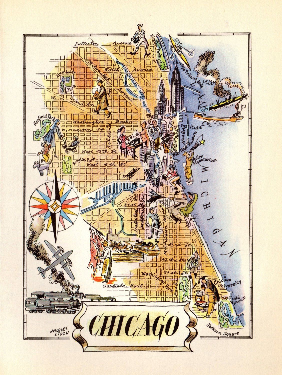 Chicago Illinois Vintage Antique Map Wall Art Home Decor Gift Ideas Canvas Print