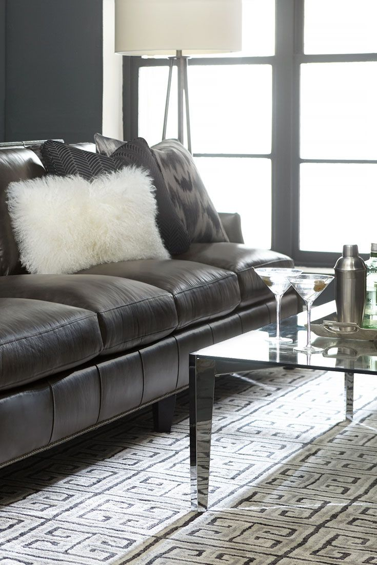 Introducing The Havertys Colton Sofa. Leather Upholstery, Cutback Arms,  Nailhead Detailing And Tapered