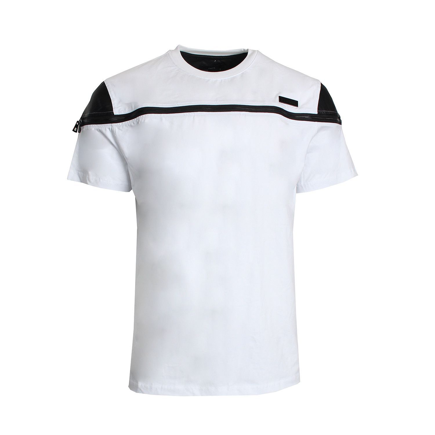 Leather Side StripeTee (WHITE/BLACK)
