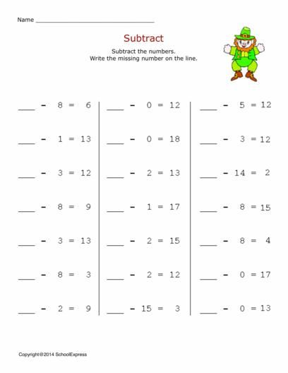 Free Math Worksheets, Subtractions, 2 Digits Minus 1 Digit | Free ...