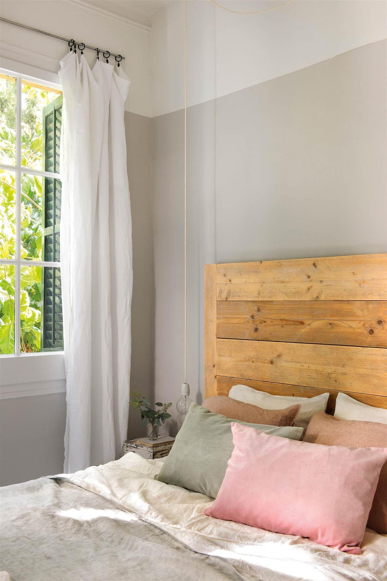 Dormitorio pintado en gris y blanco 00451215 pintura for Dormitorios pintados en gris