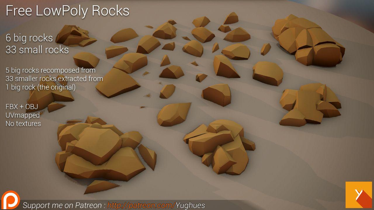Free LowPoly Rocks set01 | OpenGameArt org | stylized rocks