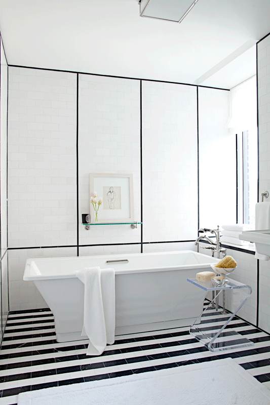 Ann Sacks 3 X 6 Nero Marquina Marble Field And 9 16 X 8 Box Liner Molding In Honed Finish With White Amazing Bathrooms Bathroom Design Beautiful Bathrooms