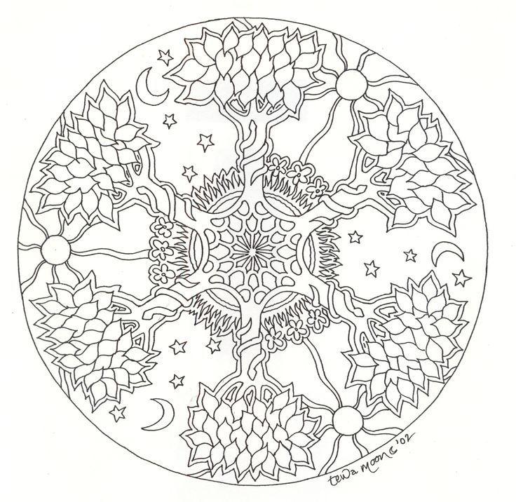 Tree Mandala Coloring Pages Boyama sayfaları, Mandala