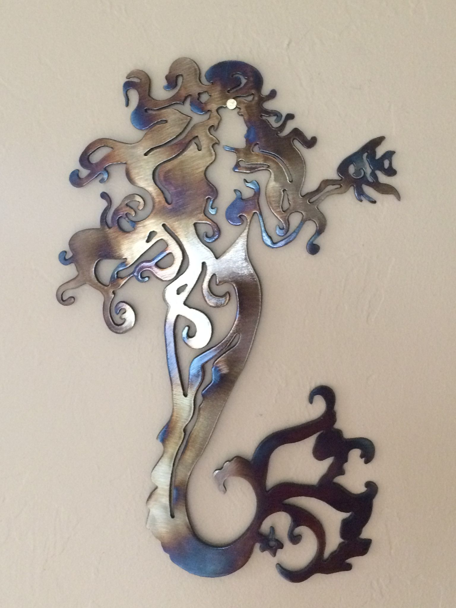 Fancy Mermaid Metal Wall Art Decor