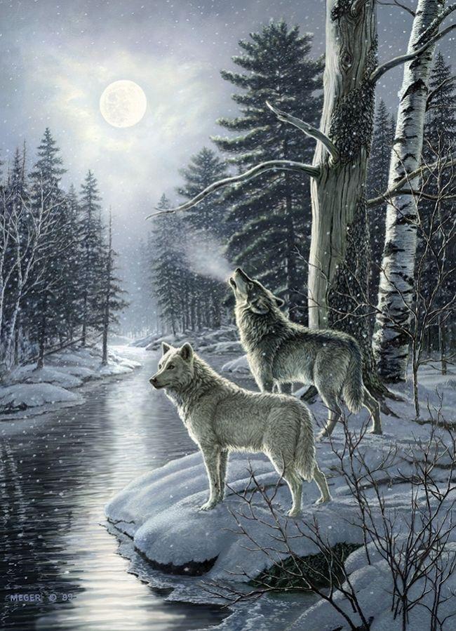 Волки зима пейзаж картинки вышивке бисером
