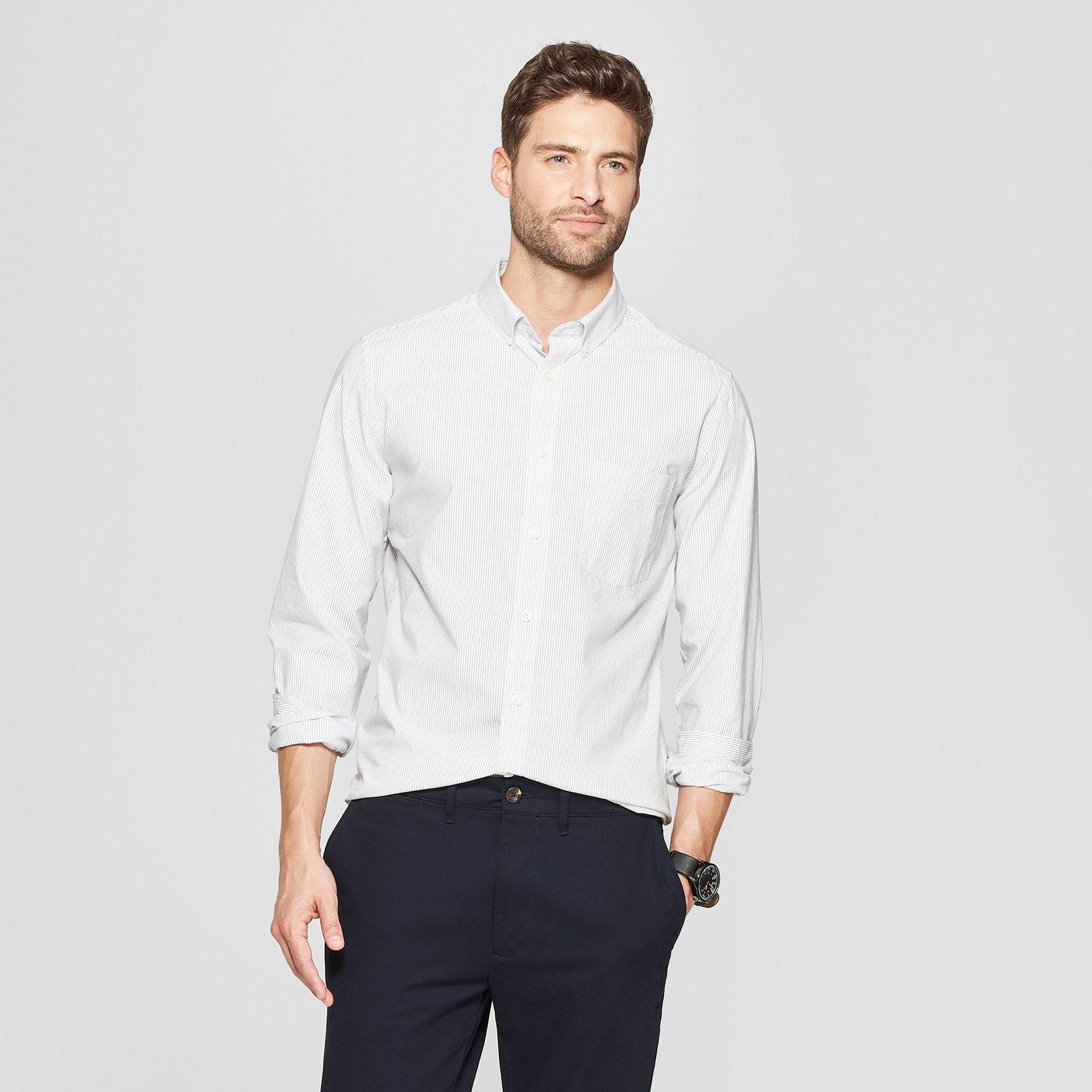 bd13d41a657 Men's Striped Slim Fit Long Sleeve Northrop Poplin Button-Down Shirt -  Goodfellow & Co White 2XL