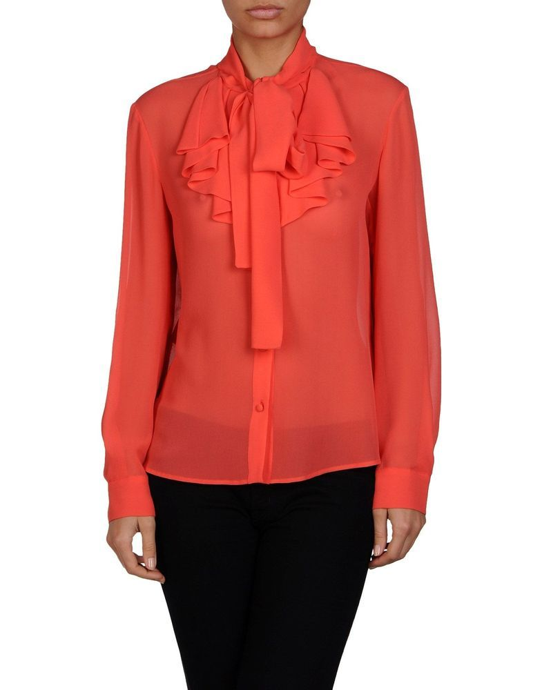 34631990f73 NEW WITH TAG MIU MIU CORAL 100% SILK BOW COLLAR LONG SLEEVE BLOUSE SHIRT  CORAL  MIUMIU  Blouse  EveningOccasion