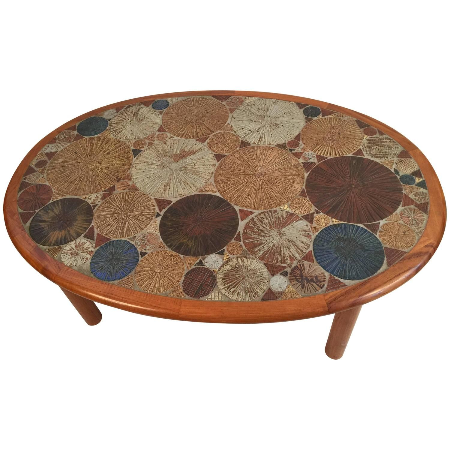 Tue Poulsen For Haslev Oval Coffee Table With Art Tile Inlay Coffee Table Oval Coffee Tables Table [ 1500 x 1500 Pixel ]