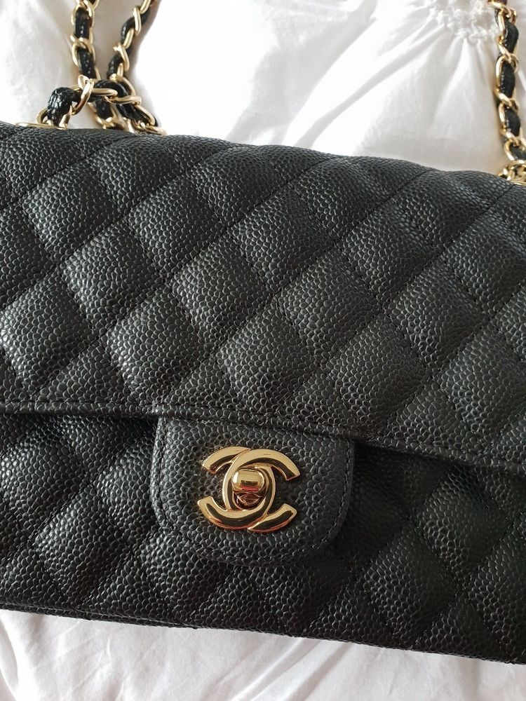 55f94b489946 Authentic -Chanel Classic 2.55 Double Flap Black Caviar Leather Bag Medium