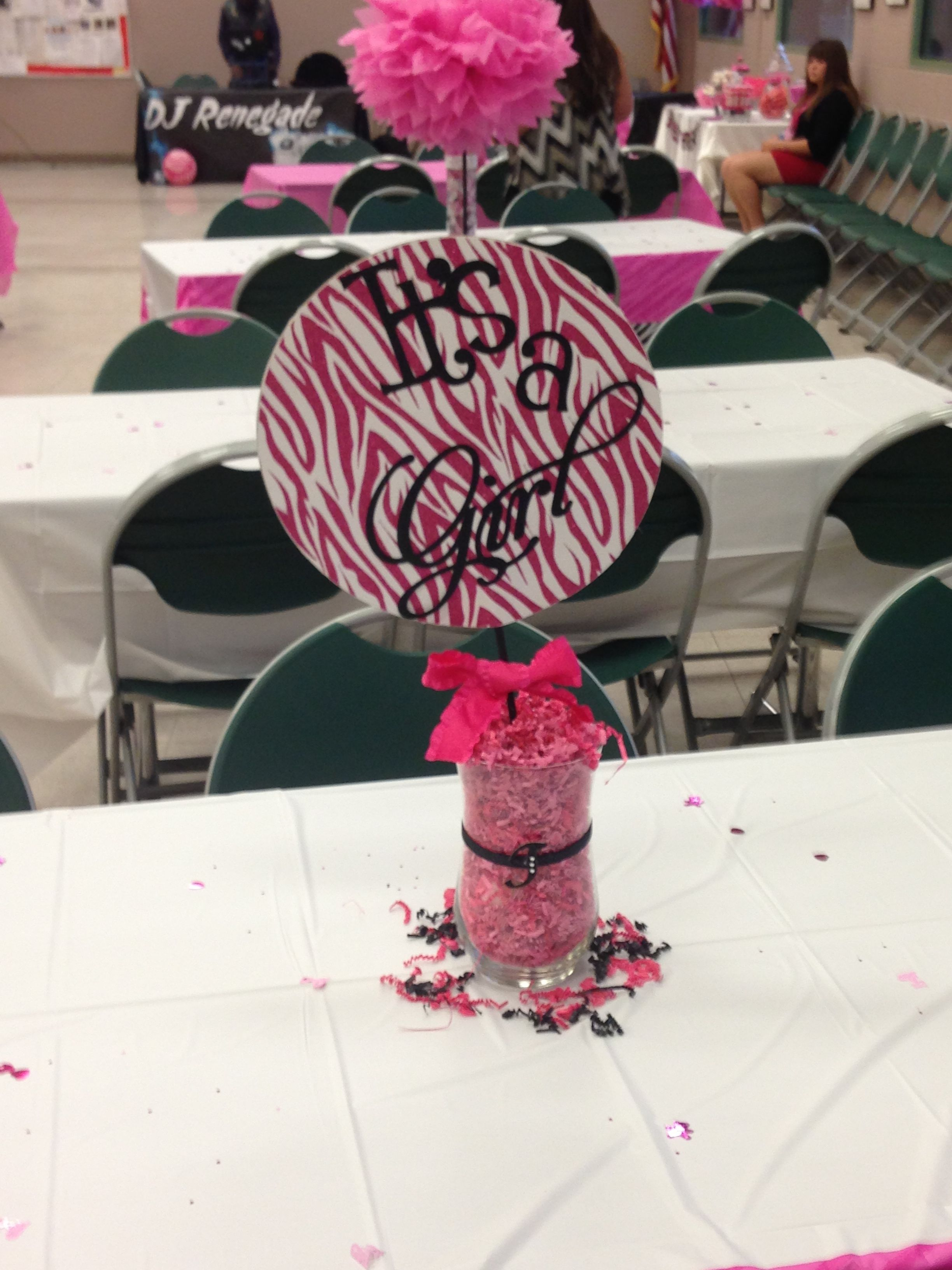 Its A Girl Centerpiece For Zebra Print Theme Baby Shower