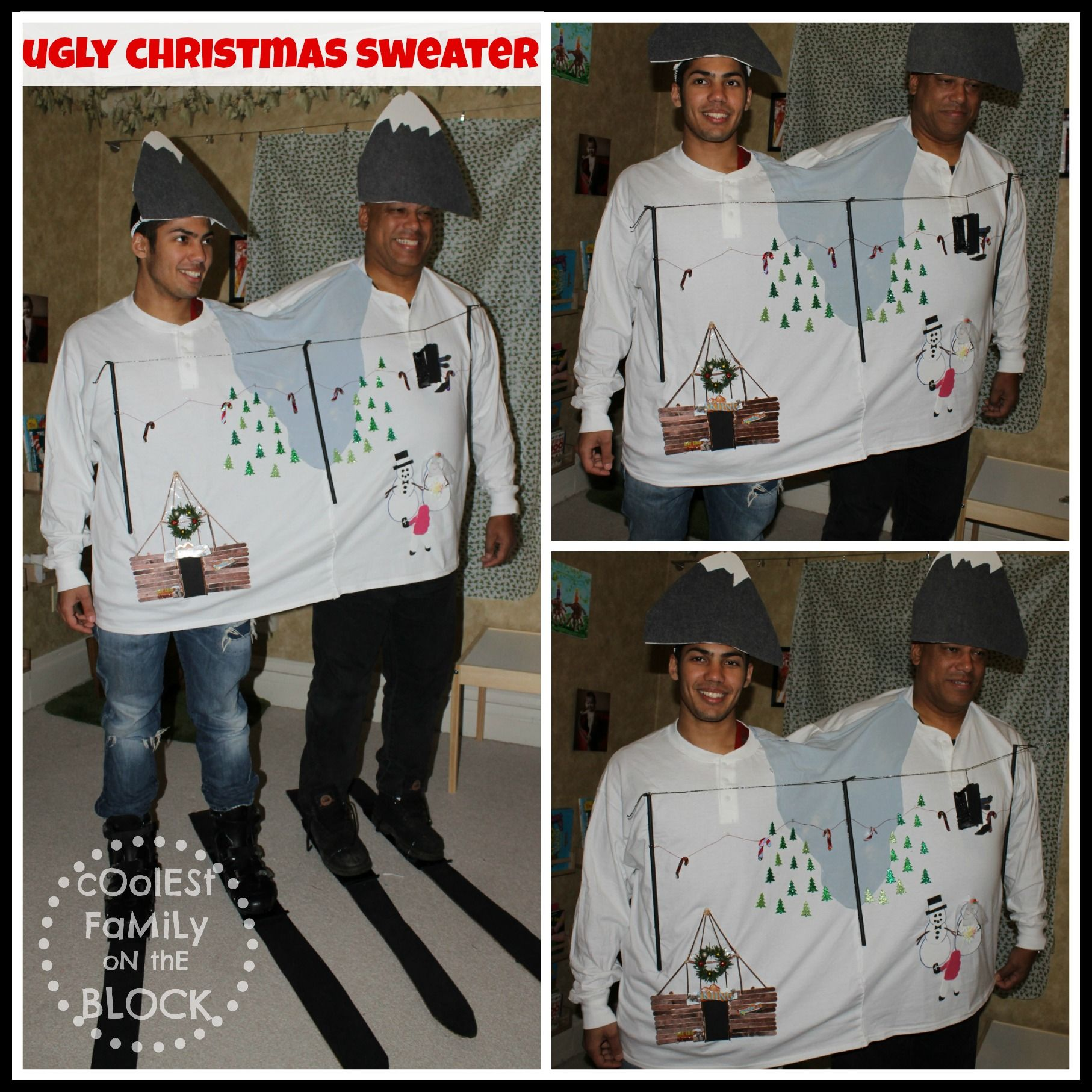 two headed ski resort ugly christmas sweater coolest family on the block christmas tradition tacky