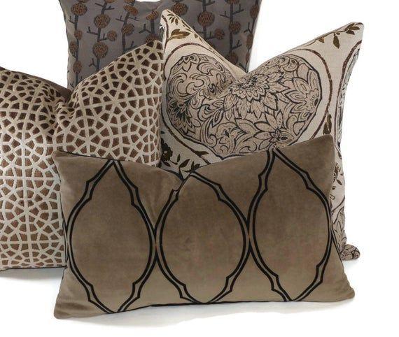 Taupe/ Greige with Black Velvet Throw Pillow Cover, 12x20, Farmhouse pillow, Boho pillow, Moroccan pillow, neutral pillow, Trellis pattern
