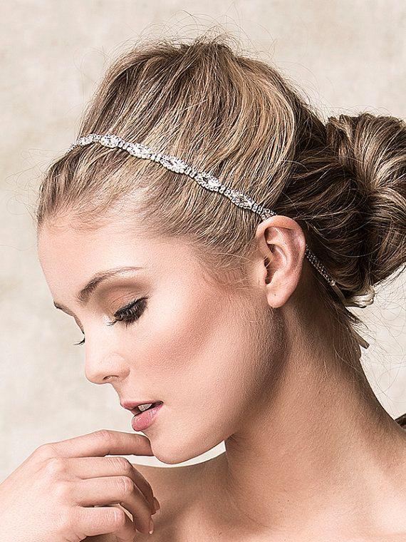 490c7603a8b Bridal Hair Accessories, Bridal Wedding Headband, Swarovski Crystal Headband,  Art Deco Single Strand Oval Rhinestone Headband (CHRISTINE)