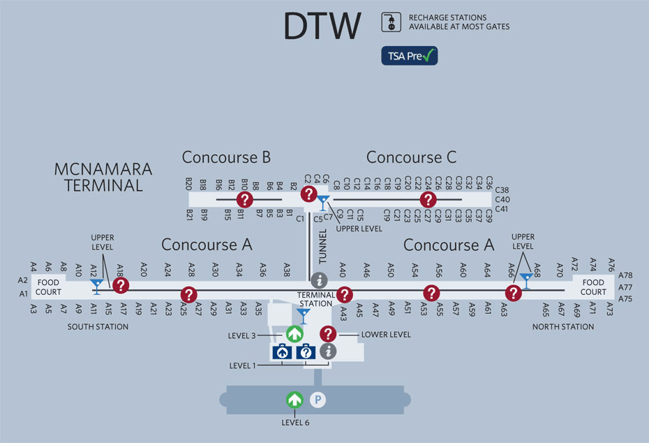 Detroit Airport Map | NYE ON NCL in 2019 | Detroit airport, Detroit on