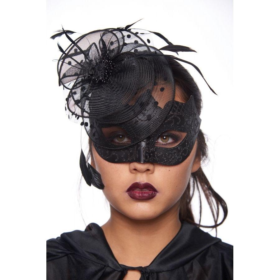Black Fascinator Style Masquerade Mask