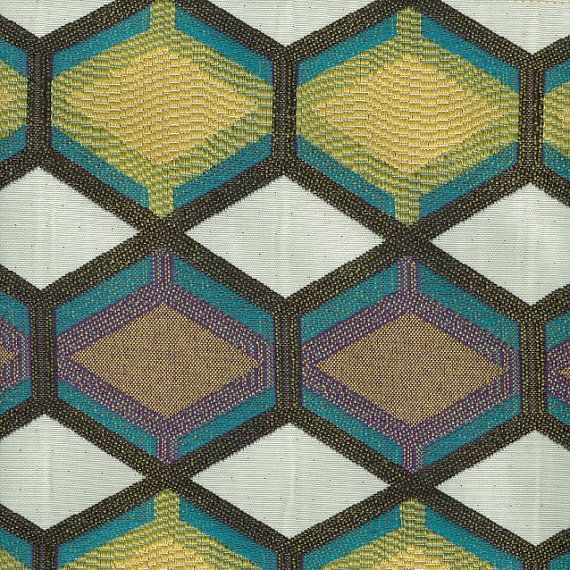 Teal Geometric Upholstery Fabric Grey Yellow Heavyweight - Designer upholstery fabric teal