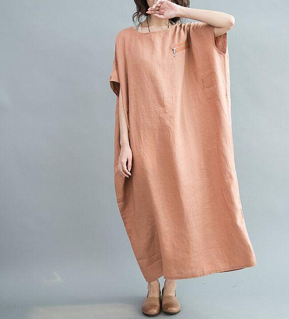 Loose Maxi Dress Women Oversize Dress/ Red wine/ Dark by MaLieb